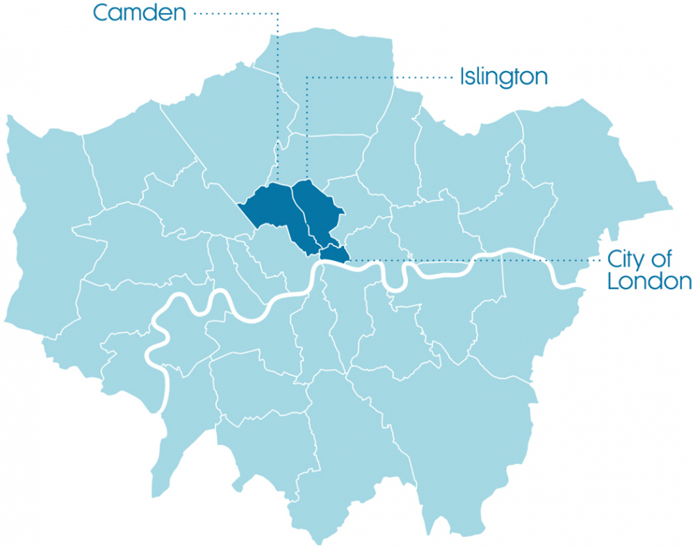 Map of London highlighting Camden, Islington and the City of London